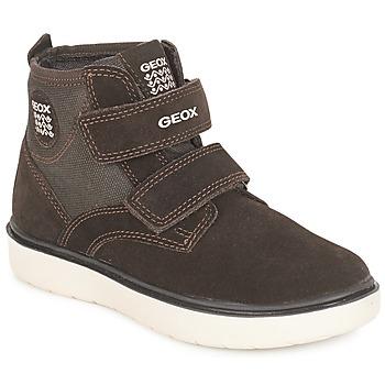 Chaussures Garçon Baskets montantes Geox J RIDDOCK BOY Marron / Marine