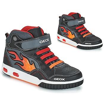 Chaussures Garçon Baskets montantes Geox JR GREGG Noir / Rouge