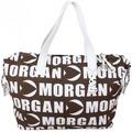 Morgan Sac à main cabas  toile motif imprimé marron et blanc