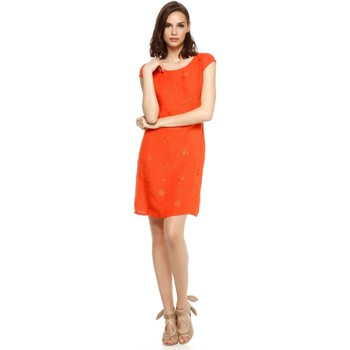 Vêtements Femme Robes Doucel robe brodée en lin ROMANTIK CHAZAL orange