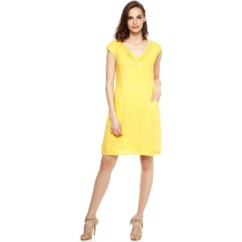 Vêtements Femme Robes Doucel robe tunique col V en lin ROMANTIK DEBO jaune