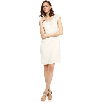 Vêtements Femme Robes Doucel robe tunique encolure ronde en lin ROMANTIK DALIA beige