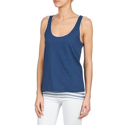 Majestic Blandine Marine / Blanc - Livraison Gratuite- Vêtements Débardeurs T-shirts Sans Manche Femme 8424