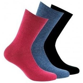 Accessoires Femme Chaussettes Kindy Lot de 3 paires chaussettes unies Rubis/bleu/noir