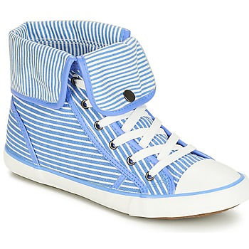 Chaussures Femme Baskets montantes André GIROFLE Blanc / bleu