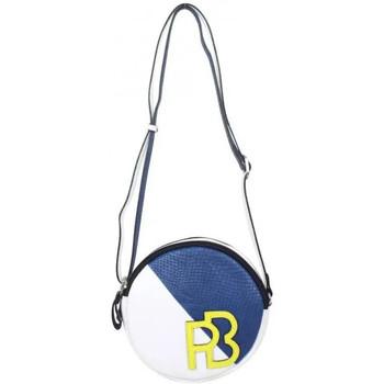 Sacs Femme Sacs Bandoulière Patrick Blanc Petit sac rond bandoulière cuir  noir argent Marine / blanc