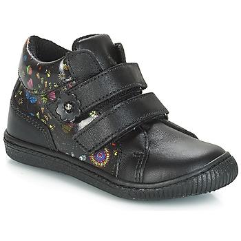 Chaussures Fille Baskets basses Citrouille et Compagnie HUPETTE Noir / Fleurs