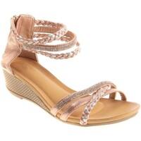 Chaussures Femme Sandales et Nu-pieds Primtex Sandales  compensées petit talon bride cheville tressée & strass Rose