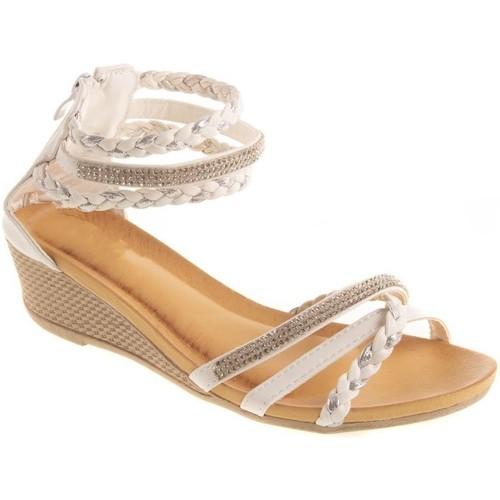 Primtex Sandales  compensées petit talon bride cheville tressée & strass Blanc - Chaussures Sandale Femme