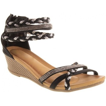 Chaussures Femme See U Soon Primtex Sandales  petit talon compensé bride cheville tressée & strass Noir