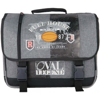 Sacs Garçon Cartables Bag CARTABLE 41CM GRIS-OVAL LEGEND  RUGBY GRIS