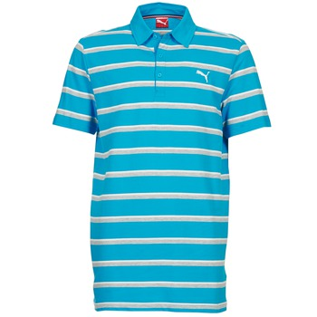 Vêtements Homme Polos manches courtes Puma FUN STRIPE PIQUE POLO Bleu / Blanc / Gris