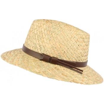 Accessoires textile Chapeaux Léon Montane Chapeau de paille naturelle beige ceinture cuir marron Beige