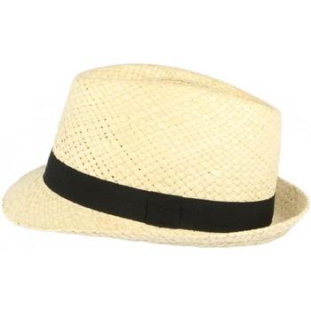 Accessoires textile Chapeaux Léon Montane Chapeau trilby de paille beige clair ceinture noire Beige