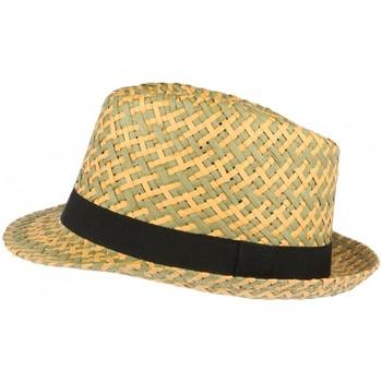 Accessoires textile Chapeaux Léon Montane Chapeau trilby paille verte et beige Movy Vert