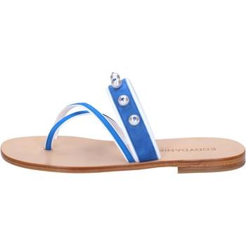 Chaussures Femme Sandales et Nu-pieds Eddy Daniele chaussures femme  sandales bleu daim blanc cuir con cristalli sw blanc