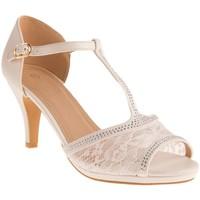 Chaussures Femme Sandales et Nu-pieds Primtex Sandales mariage  dentelle et strass suédine bout ouvert grandes Blanc