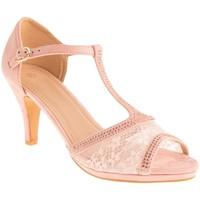 Chaussures Femme Sandales et Nu-pieds Primtex Sandales mariage  dentelle et strass suédine bout ouvert grandes Rose