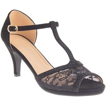 Chaussures Femme Sandales et Nu-pieds Primtex Sandales mariage  dentelle et strass suédine bout ouvert grandes Noir