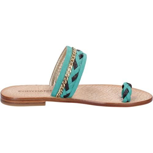 sandales vert daim marron cuir ax720 Eddy Daniele sandales et nu-pieds femme vert