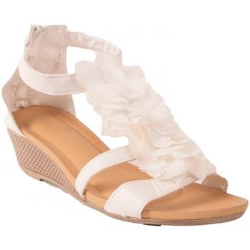 Chaussures Femme Sandales et Nu-pieds Primtex Sandales  compensées petit talon à fleurs à fermeture zip chevil Blanc
