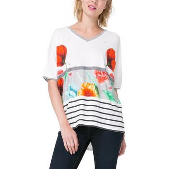Vêtements Femme T-shirts manches courtes Desigual Tee-Shirt Maria Luisa Blanc 73T2WJ0 (sp) 1