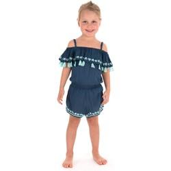 Vêtements Fille Combinaisons / Salopettes Kiwi Saint Tropez Combishort uni brodé Bleu