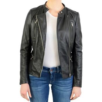 Vêtements Femme Vestes en cuir / synthétiques Ladc Blouson En Cuir aurelia Noir