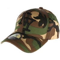 Accessoires textile Casquettes Hip Hop Honour Casquette NY militaire verte et marron Aincys Vert