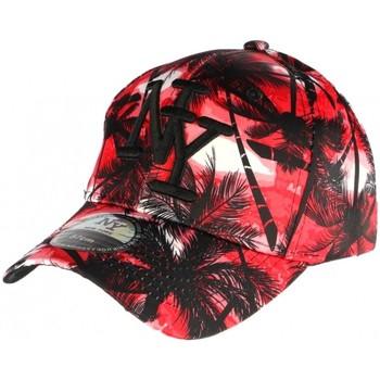Accessoires textile Casquettes Hip Hop Honour Casquette Baseball noire et rouge Tropical Rouge