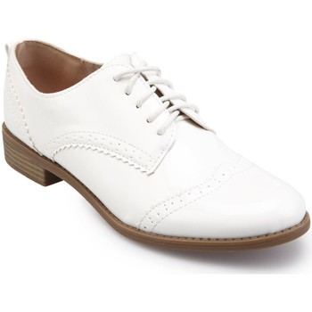 Chaussures Femme Derbies La Modeuse Derbies blancs vernis Blanc