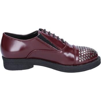Chaussures Femme Derbies Francescomilano chaussures femme  élégantes bordeaux cuir borchie BX326 rouge