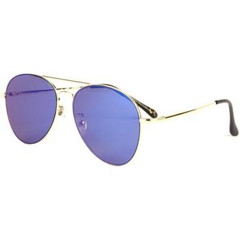 Montres & Bijoux Lunettes de soleil Eye Wear Lunettes soleil aviateur miroir bleu dorée Flying Bleu