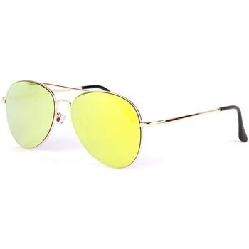 Montres & Bijoux Lunettes de soleil Eye Wear Lunettes soleil aviateur miroir doré Flying Jaune