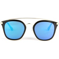 Montres & Bijoux Lunettes de soleil Eye Wear Lunettes soleil miroir bleu et noir fashly Bleu