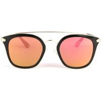 Montres & Bijoux Lunettes de soleil Eye Wear Lunettes soleil miroir doré et noir tendance fashly Jaune