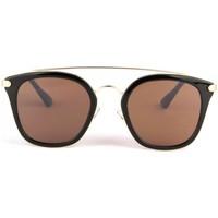 Montres & Bijoux Lunettes de soleil Eye Wear Lunettes soleil marron dore et noir tendance fashly Noir