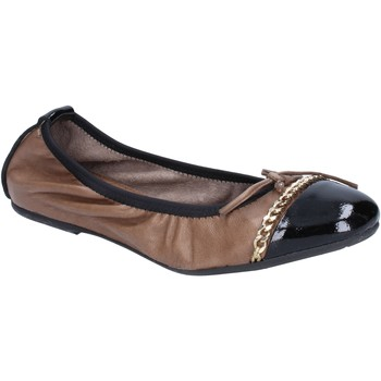 Ballerines Crown ballerines beige cuir noir BX641