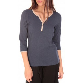 Vêtements Femme T-shirts manches longues Tom Tailor Top Trendy Color Block Tee Bleu marine Bleu