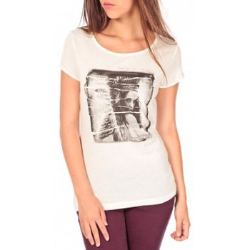 Vêtements Femme T-shirts manches courtes Tom Tailor T-shirt With Print Blanc Blanc