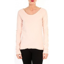 Vêtements Femme T-shirts manches longues By La Vitrine T-shirt Empiècement Pailleté 2119 Rose Poudre Rose