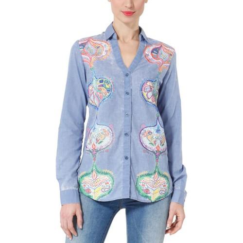 Vêtements Femme Chemises / Chemisiers Desigual CAM_MARCIA 31C2213 Bleu Bleu