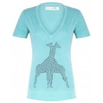 Vêtements Femme T-shirts manches courtes So Charlotte V neck short sleeves Giraffe T00-91-80 Vert Vert