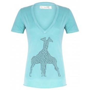 Vêtements Femme T-shirts manches courtes So Charlotte V neck short sleeves Giraffe T00-91-80 Vert Vert