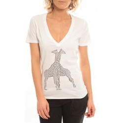 Vêtements Femme T-shirts manches courtes So Charlotte V neck short sleeves Giraffe T00-91-80 Blanc Blanc