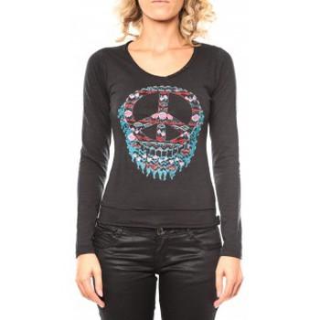 Vêtements Femme T-shirts manches longues Sweet Company Tee shirt Peace Noir Noir