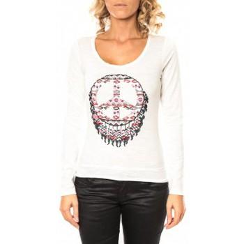 Vêtements Femme T-shirts manches longues Sweet Company Tee shirt Peace Blanc Blanc