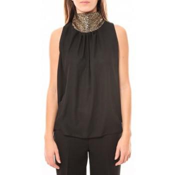 Vêtements Femme Débardeurs / T-shirts sans manche Tcqb Top Paillettes Dorées 114-70 Noir Noir