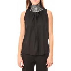 Débardeurs / T-shirts sans manche Tcqb Top Paillettes Argentées 114-70 Noir