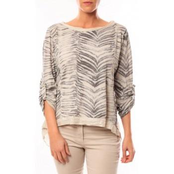 Vêtements Femme T-shirts manches longues By La Vitrine Tee shirt Zèbre Asso Gold Beige - Beige